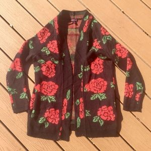 Sweaters - Black Rose Chunky Open Cardigan Sz M